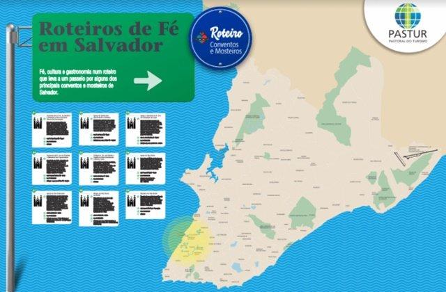 Mapa do roteiro Conventos e Mosteiros da Pastur de Salvador